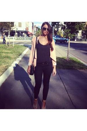 Zara jeans - bcbg max azria blazer - DKNY bag - Zara wedges - Zara t-shirt