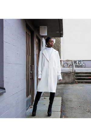 white H&M coat
