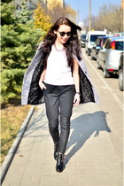 heather gray Sheinside coat - black Front Row Shop pants - white H&M t-shirt