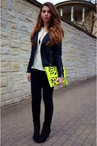 yellow Lookbook Store bag - black Zara boots - black Cubus jacket