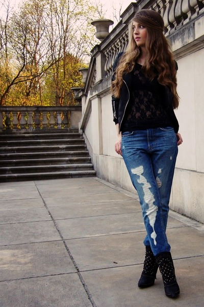 black Zara boots - pull&bear jeans - black Cubus jacket - black lace Bik Bok top