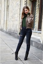 olive green no name jacket - black Zara boots - dark gray H&M jeans