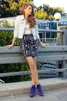 blue H&M wedges - light blue second hand jacket - navy H&M skirt
