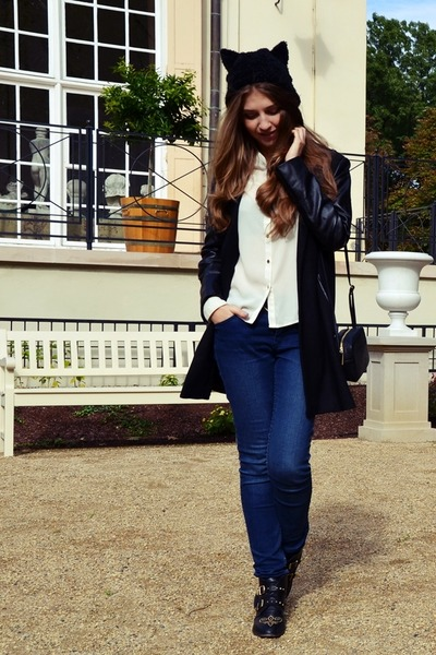 black H&M hat - black Sheinside coat - navy Cubus jeans - ivory H&M shirt