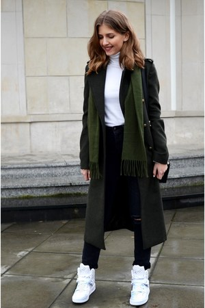 white Zara top - dark green Bershka coat - black H&M jeans