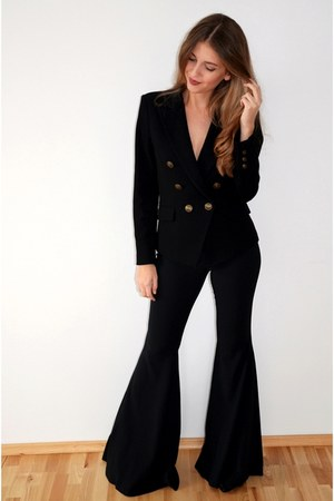 black Mango blazer - black Zara pants