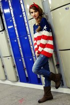Sheinside sweater - brown Tommy Hilfiger boots - pull&bear jeans