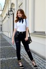 Black-h-m-jeans-white-bershka-top-black-no-name-flats