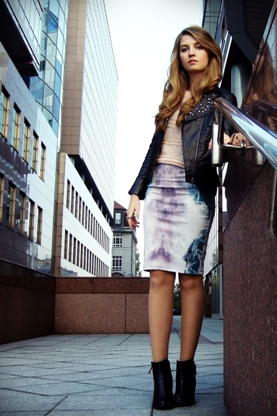 Zara skirt - black H&M boots - black OASAP jacket - peach GINA TRICOT sweater