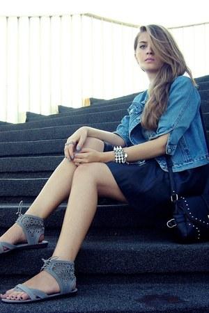 heather gray CCC sandals - blue second hand jacket - black OASAP bag