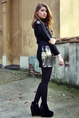 H&M skirt - epaulet OASAP jacket - black no name tights