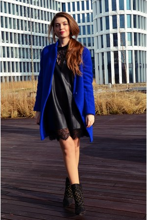 blue Sheinside coat - black Zara boots - black Choies dress