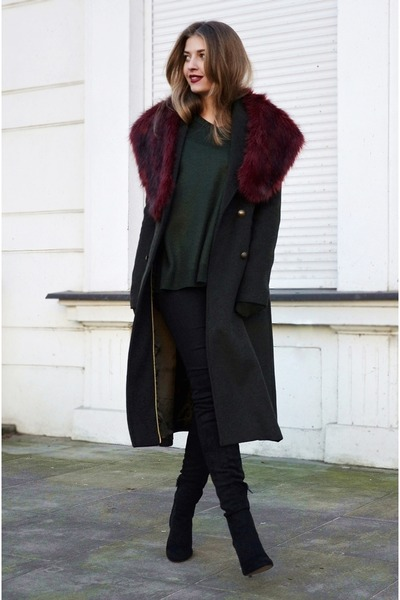 black Mango boots - dark green Bershka coat - dark green vintage sweater