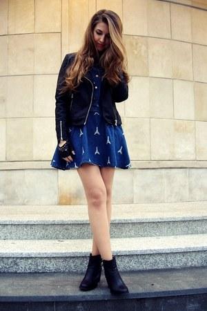 black H&M boots - blue Sheinside dress - black Cubus jacket