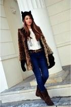 black H&M hat - brown Tommy Hilfiger boots - house coat - blue Cubus jeans