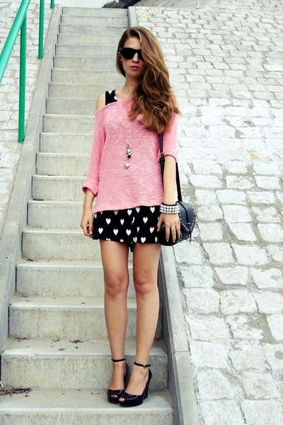black OASAP bag - bubble gum Cubus sweater - black Melissa wedges