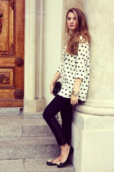 off white OASAP shirt - black vintage bag - black vintage pants - blink flats