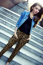 blue vintage jacket - black no name top - gold H&M necklace - Sheinside pants