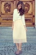 beige new look heels - ivory H&M shirt - neutral OASAP skirt