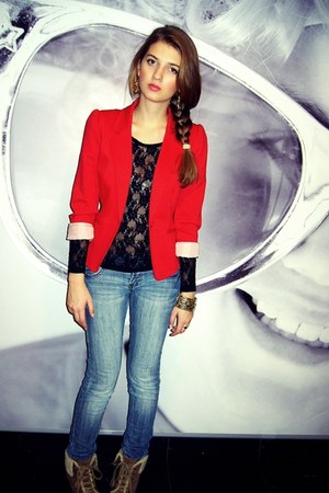 red polyester H&M blazer - black lace Bik Bok top