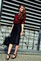 H&M shirt - black Pimkie bag - black new look skirt - Guess wedges