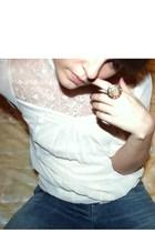 beige H&M Trend blouse - blue Levis jeans - KappAhl accessories - lindex accesso