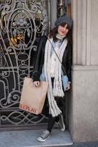 gray Converse shoes - black H&M leggings - blue Urban Outfitters skirt - H&M shi