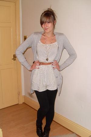 silver Primark cardigan - black Primark boots - black H&M accessories - Topshop