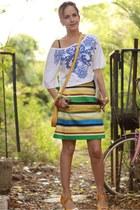 yellow Shani bar shoes - sky blue Mango shirt - gold Mika bag - orange Zara skir