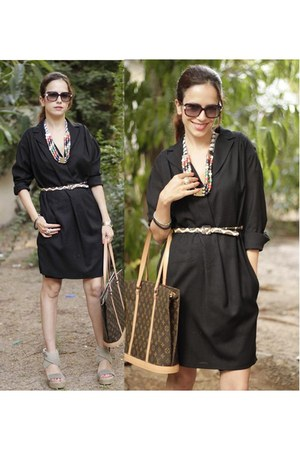green Mango dress - light brown Louis Vuitton bag - dark khaki REPLAY heels - re