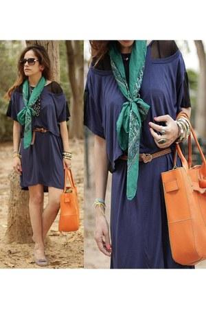 light purple Moretti shoes - navy asos dress - carrot orange Mika bag - teal GOL