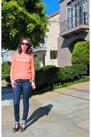 blue J Brand jeans - orange Old Navy sweater - black Lucky Brand sandals