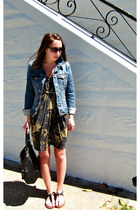 olive green Urban Outfitters dress - blue Old Navy jacket - black Marc by Marc J