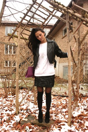 black vintage danier jacket - black naughty monkey boots - deep purple Body Blue