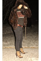 dark brown Rabbit Fur coat - gray RUN DMC shirt - dark brown Vintage Levis belt