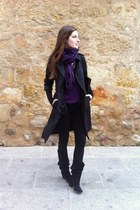 Zara boots - Zara coat - Zara leggings - Lefties t-shirt - camaieu cardigan