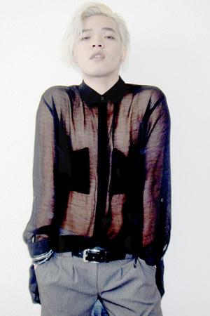 black thrifted vintage shirt