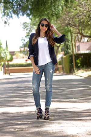 navy Zara blazer - light blue pull&bear jeans - navy Zara heels