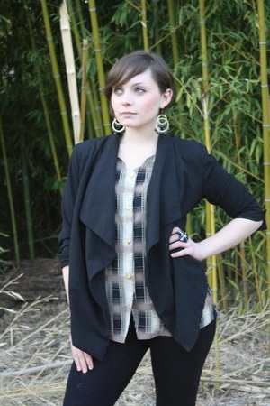 blazer Kenneth Cole jacket - Forever 21 leggings - gold buttons THEBEAM blouse -