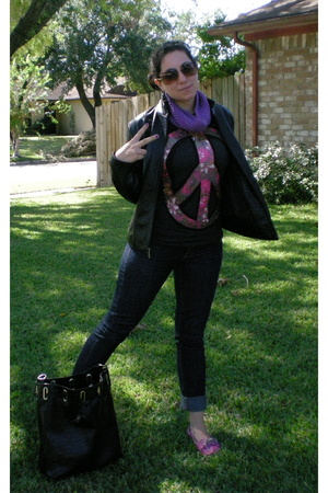 UO shirt - unknown jacket - scarf - f21 jeans - UO shoes - Chanel glasses