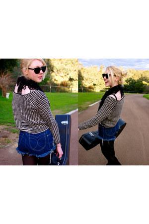 blue faberje shorts - black Chic-a-booti jumper