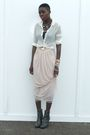 Pink-h-m-dress-beige-vintage-blouse-black-calvin-klein-bra-gray-frye-boots