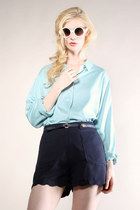 robins egg blue 1990s blouse