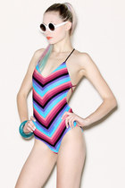 chevron stripe vintage swimwear