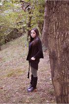 black brandy&melville sweater - black Sexy Woman jacket - green subdued leggings