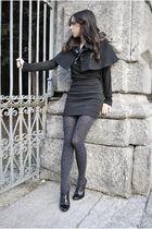 black Sexy Woman coat - black Promod top - black H&M skirt - black heels - gray