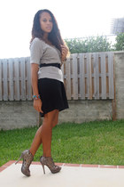 heather gray Charlotte Russe shirt - black skirt - heather gray Aldo heels