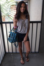 Teal-franchescas-purse-navy-forever-21-shorts-black-charlotte-russe-sandals-