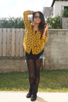 mustard Forever 21 blouse - black Aldo boots - blue Forever 21 shorts