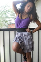 purple Forever 21 top - heather gray Charlotte Russe skirt - black patent leathe